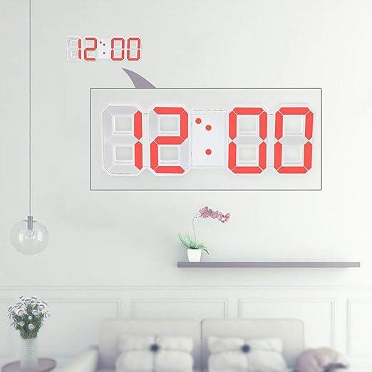 Diseño moderno Reloj digital de pared de gran tamaño con reloj de pared Único Vintage Decoración del hogar Reloj temporizador Relojes de alarma, blanco: Amazon.es: Hogar
