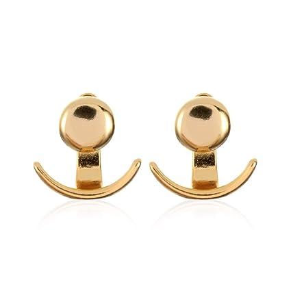 75655503f Amazon.com: Gold Happy 1 Pair Trendy Crescent Moon Phase Earrings ...