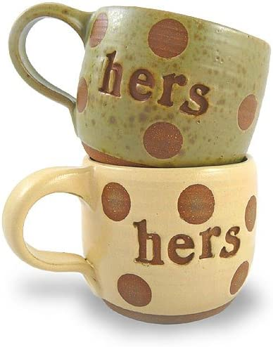 Amazon.com | Hers and Hers Coffee Mugs, Set of 2, Handcrafted Pottery, 14  oz.: Coffee Cups & Mugs
