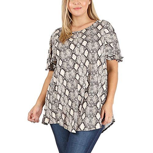 LoveCurvy (AT50006 PRT) Plus Size Women's Round Neck Flared Short Sleeves Multi Print Flowy Knit Top (Snake Multi(S), 2X)