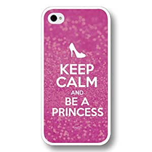 Onelee(TM) - Keep Calm and be a Princess Hard Plastic Case Cover for iPhone 4/4S - Cinderella Sparkle Series - White