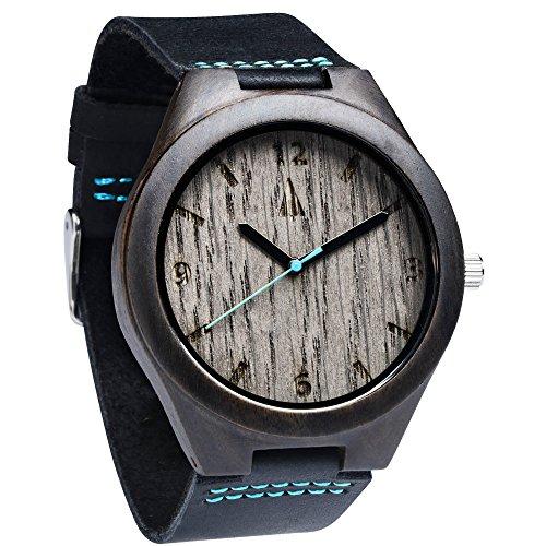 Treehut Mens Ebony Wooden Silver Oak Watch with Genuine Black Leather Strap Q...