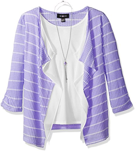 Stripe 3/4 Sleeve Big Shirt (Amy Byer Big Girls' 3/4 Sleeve Stripe Thermal Top With Necklace, Lilac, M)