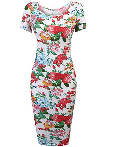 Fleur Fit Crayon Slim Midi Courte weiss Femme Typ1 HOTOUCH Robe Manche Vintage qgTnt