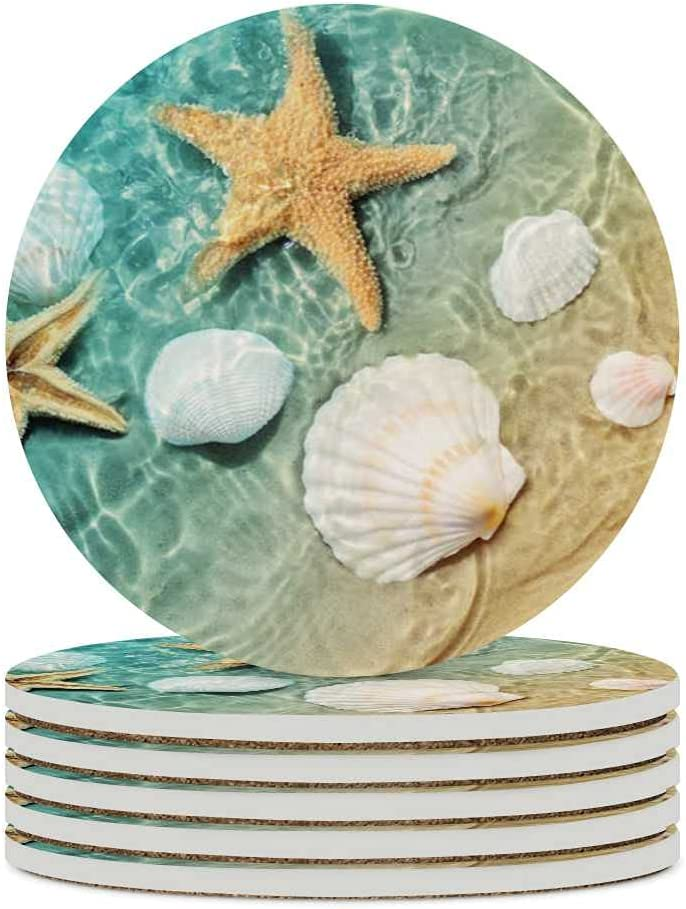 Coasters for Drinks Sea Beach 6 Pack Cork Ceramic Stone Coaster Cup Mat Absorbent Place Mats Starfish and Seashell Summer Mugs Kitchen Decor Cup for Coffee Table Bar
