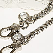 Metal Square Artificial diamond Pendant shape Chain 23 inch Long silvery Tone Mini Purse/Shoulder/Cross Body Bag Replacement Metal Strap