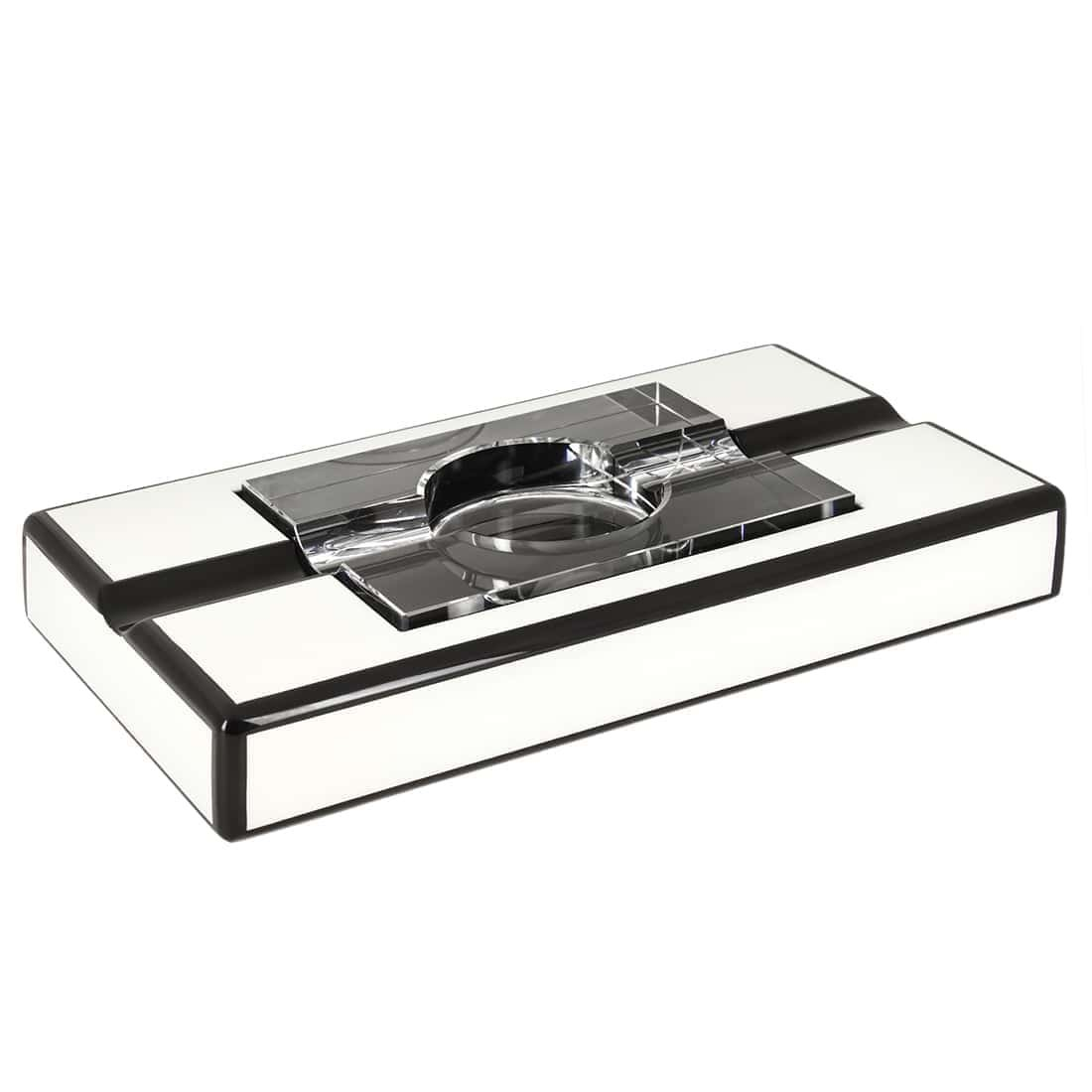 None black and white rectangular ashtray