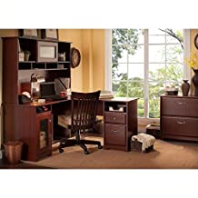 """Bush Cabot 60"""" L-Shaped Computer Desk with Hutch and File Cabinet in Harvest Cherry"""