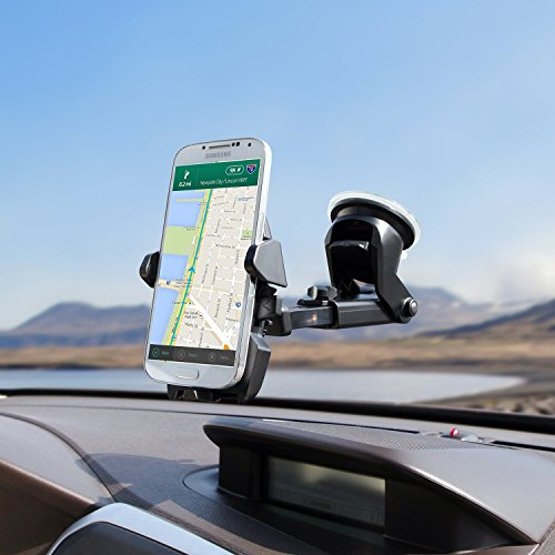 MONARCHPUFF DSH-360 Windshield/Dashboard Universal Easy One Touch Car Mobile Phone Cradle for iOS/Android Smartphone and More - White - Box of 30 by MONARCHPUFF (Image #1)