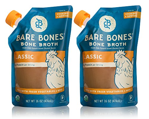 Bare Bones Chicken Bone Broth - 100% Organic Bone Broth with Protein and Collagen, Ancient Natural Source of Nutrition, Ketogenic Diet Friendly, Whole30 Approved, Certified Paleo, 16 oz (2-Pack)