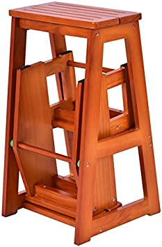 Cosco 2 Step Stool Ladder Metal Wood Folding Portable Brown Kitchen Foldable