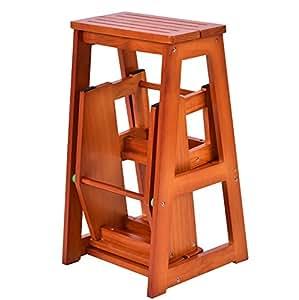 Amazon Com Folding Wooden Step Stool 3 Tiers Portable