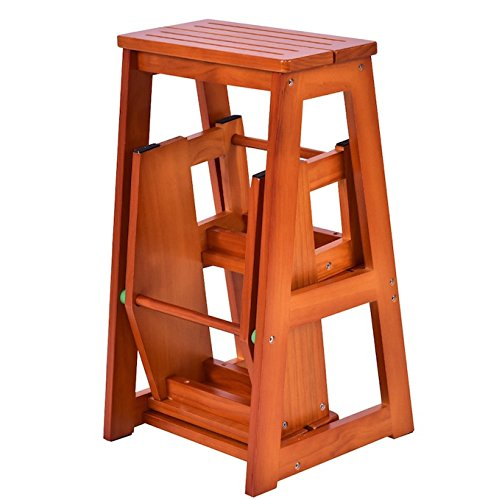 Folding Wooden Step Stool 3 Tiers Portable Ladder Chair Seat Versatile Multifunctional Multipurpose Solid Pine Wood Construction Space Saving Foldable Design Home Kitchen Bathroom Office Furniture