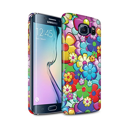 STUFF4 Matte Hard Back Snap-On Phone Case for Samsung Galaxy S6 Edge/Vibrant Flower Power Design/Hippie Hipster Art Collection