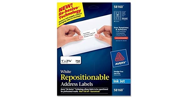 Amazon Avery Dennison 58160 Repositionable Address Labels For