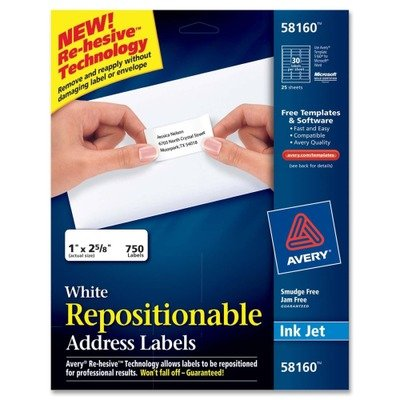 Label Address Repositionable Avery (AVERY-DENNISON 58160 Repositionable Address Labels for Inkjet Printers, 1 x 2 5/8, White, 750/Box)