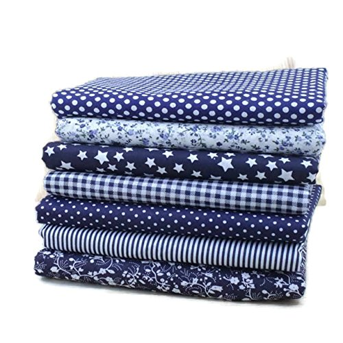Navy Blue Cotton Patchwork Fabric Bundle For DIY Sewing Textiles tilda Quilting Tissue 50x50cm (7 pcs)]()