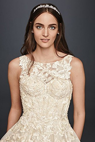 Cassini Extra Lace Tank David's 4XLCWG658 Ivory Oleg Style Beaded Bridal Length Wedding Solid Dress qFxw5HSI