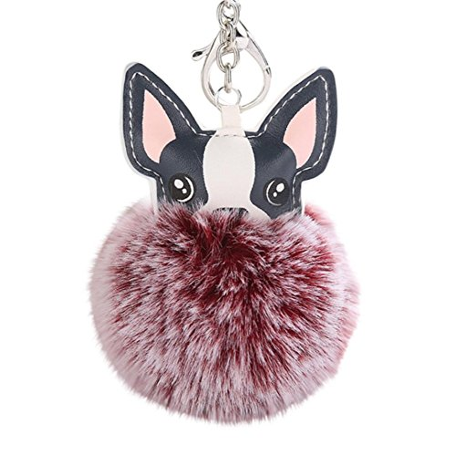 BEUU 2018 New Dog Poppy 8cm Ball With Artificial Head Inlay Pearl Rhinestone Key Chain Hairball Pendant Keychain Keychain Keychains For Women (Wine Red)]()
