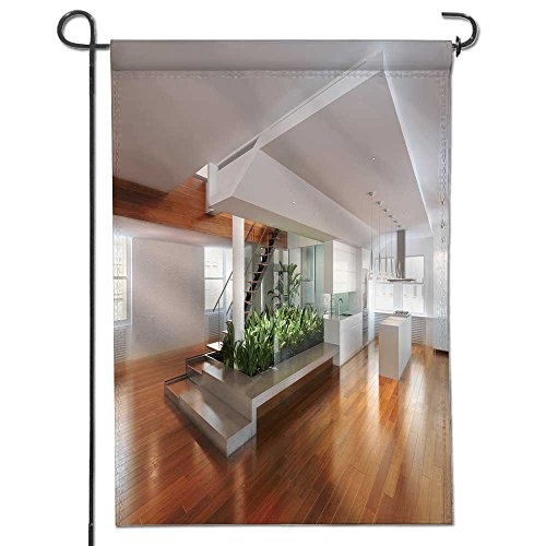 AmaPark Welcome Pineapple Garden Flag| Double-sided,empty room of residence with an atrium center and hardwood floors Great Design Yard Flag 12