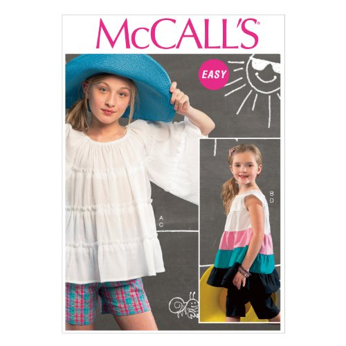 McCall Pattern Company M6735 Children's/Girls' Top, Tunic, Shorts and Pants Sewing Template, Size CHJ (7-8-10-12-14)