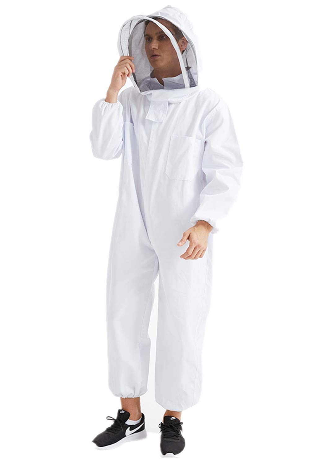 Professional Cotton Full Body Beekeeping Bee Keeping Suit W//Veil Hood Protect A+