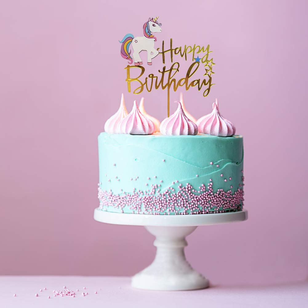 Unicorn Happy Birthday Cake Topper Acrylic Unicorn Cupcake Topper Glitter Birthday Party Supplies Unicorn Party Event Decorations (4 pieces)