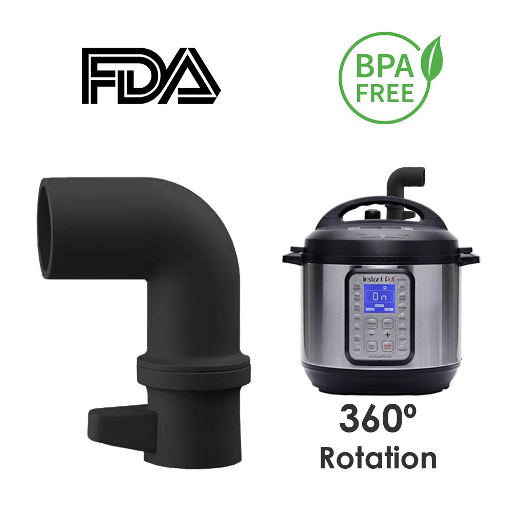 HomeBee, Silicone Steam Release Accessory Compatible with Instant Pot and Pressure Cooker Mini 3/6/8 Qt, Duo/Duo Plus/Smart/Ultra Models   Cabinet Savior IP 360 Rotating Diverter for Instapot (Black)