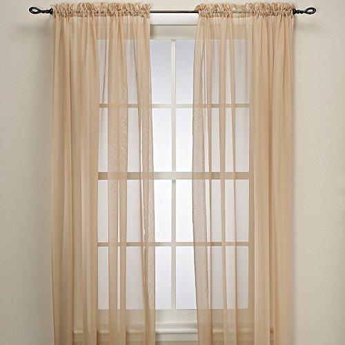 Grace Comfort 2 Piece Solid Beige Sheer Panel Curtain Set 60″ X 84″ Window Treatment