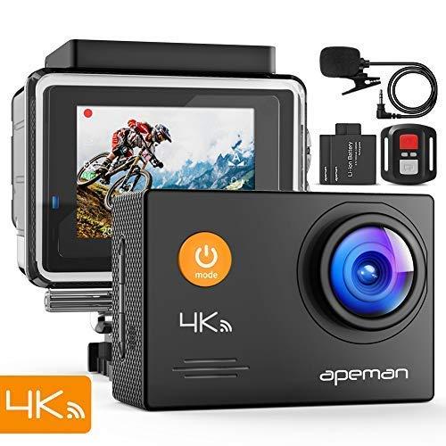 150 opinioni per APEMAN Action Cam 4K HD WiFi 16MP con Telecomando e Microfono Esterno 40M