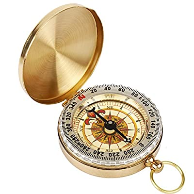 AUFO Bronzing Antique Portable Pocket Compass Navigation Tools for Camping and Hiking
