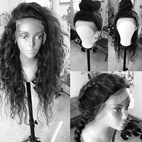 r Wave Human Hair Full Lace Wig Virgin Glueless Hair Natural Black Color for Black Women KRN Carina Hair (16inch, lace front wig) ()