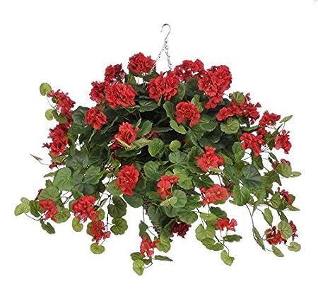 House of silk flowers artificial red geranium wt in beehive house of silk flowers artificial red geranium wt in beehive hanging basket by house mightylinksfo