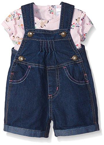 Carhartt Girls' 2pc Denim Shortall Set, Classic Wash Horses, 18 Months (Carhartt Snap Front Denim)