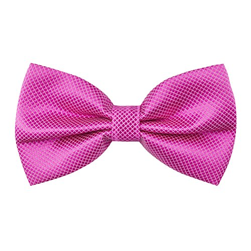 Alizeal Men's Solid Formal Banded Bow Ties (Hot Pink) -