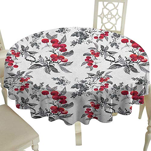 (Cranekey Grid Round Table Cloth 54 Inch Rowan,Abstract Modern Garden Theme with Artistic Rowan Plant Botanical Pattern Design Ruby Grey Black Great for,Holiday &)