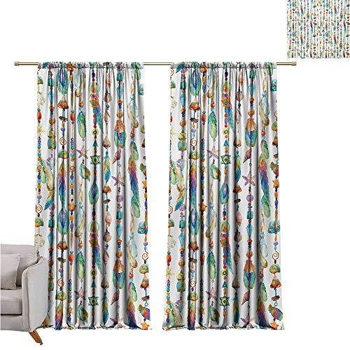 DESPKON-HOME Curtain for Kids Room,Feather Watercolor Style Figures with Sea Shells Nautical Boho Style Chains Pendant Pattern Grommet Curtain Backdrop (108W x 72L inch,Multicolor)