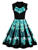 Mulanbridal Women's Retro Floral 50s Vintage Style Cap Sleeve Casual Cocktail Party Swing Dress