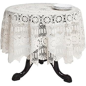Superb SARO LIFESTYLE 869 Crochet Tablecloths, 90 Inch, Round, Ecru