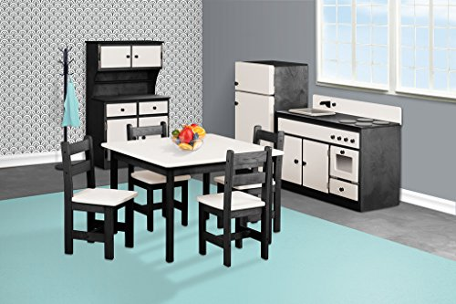 Children's Sink-Stove, Hutch, Fridge, Table and Chairs Set -Metro Collection -Black and Turquiose Color Amish Bedroom Hutch