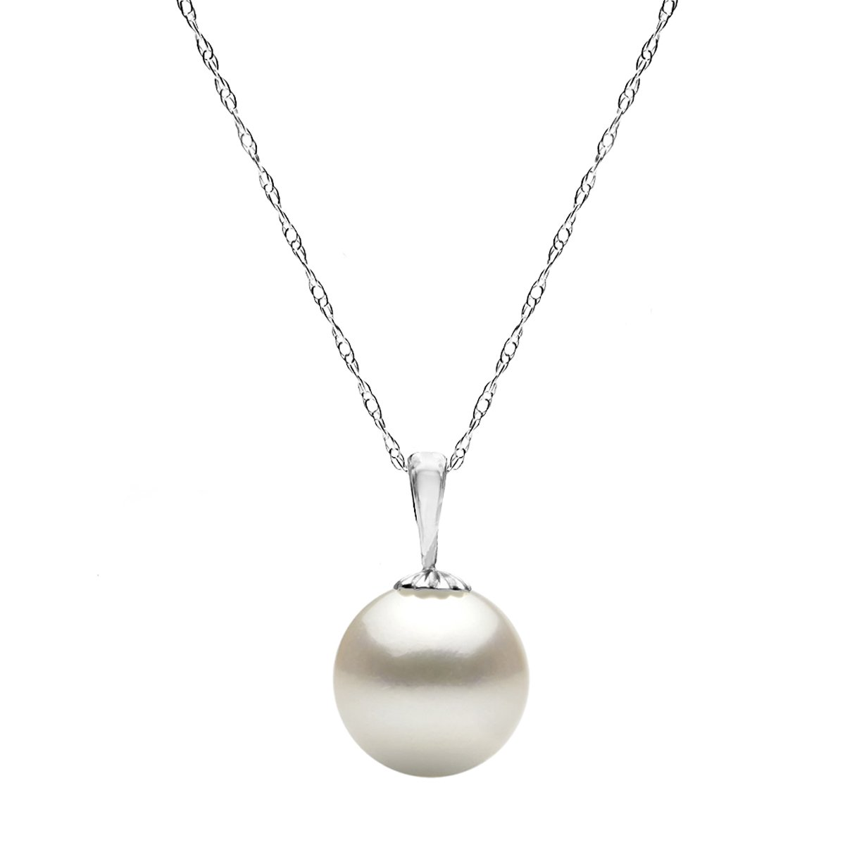 14K White Gold Chain White Freshwater Cultured Pearl Pendant Girls Necklace 18 inch