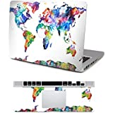 """Vati Leaves Removable Colorful World Map Protective Full decals Vinyl Art Skin Decal Sticker Scratch resistant for Apple MacBook Air 13.3"""" inch"""