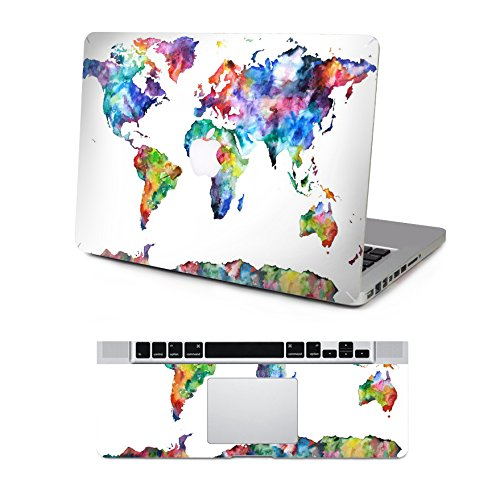 Vati Leaves Removable Colorful World Map Protective Full decal Vinyl Art  Skin Decal Sticker Scratch resistant for Apple MacBook Pro Retina 13.3