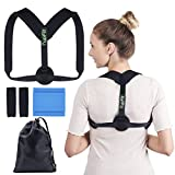 7upFit Posture Correctorfor for Men, Women & Kids -FDA Approved, Front Adjustable Clavicle Brace with Stretching Band, 2 Armpit Pads and Carrying Bag Included- Discreet Design