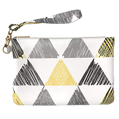 Lex Altern Makeup Bag 9.5 x 6 inch Cute Geometric Drawing Triangle Yellow Gray Wristband Girly Accessory Design Print Purse Pouch Cosmetic Travel Leather Case Toiletry Women Zipper Organizer Storage