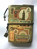 Leather Journal Old Leather Journal Antique refillable Leather Journal with Unlined Paper and Zipper Pocket (A6)(Stamps)