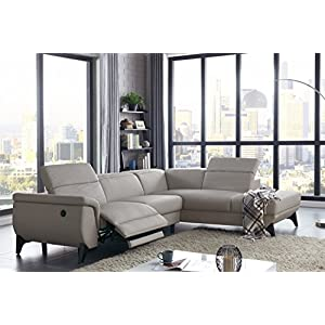 Modern Sectional Sofa with Electrical Recliner (Light Grey) - Contemporary Style and Adjustable Head Rest for Comfort