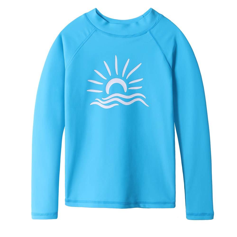 TFJH E Girls' Long-Sleeve Rashguard Swim Shirt UV 50+ Surfing Beachwear, Blue 10A by TFJH E (Image #1)
