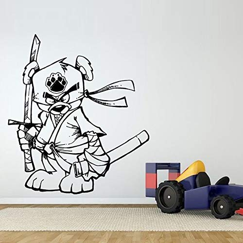 Misip Wall Sticker Lettering Quotes and Saying Funny Ninja Samurai Bear Removable Wall Stickers for Nursery Kids Room Lovely Style Vinyl -