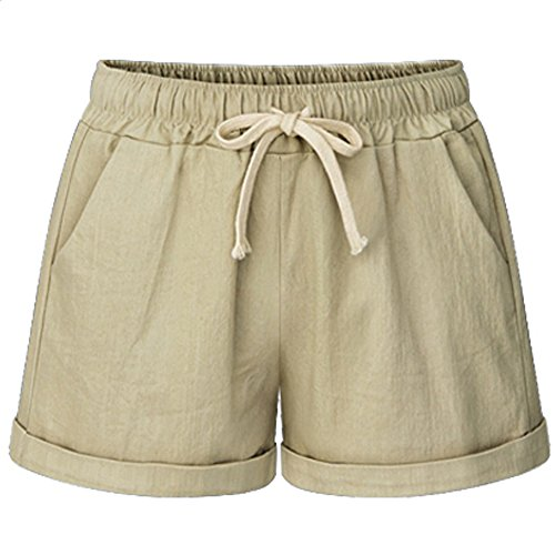 XinDao Women's Outdoor Drawstring Elastic Waist Casual Comfy Bermuda Plus Size Hiking Shorts Khaki US 2XL/Asia 7XL